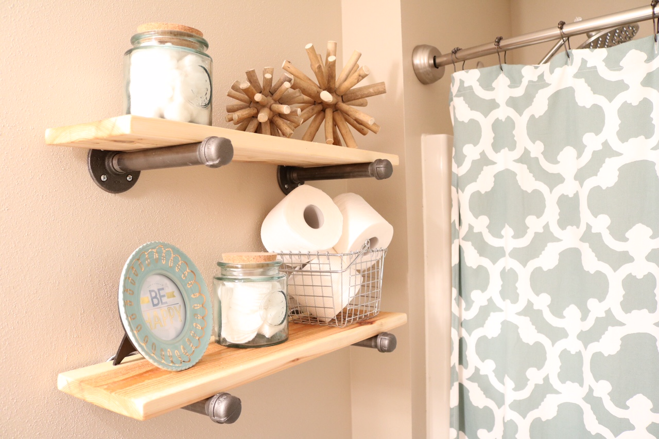 DIY Rustic Industrial Bathroom Shelves
