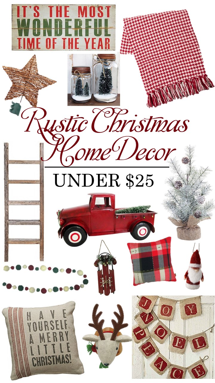 Rustic Christmas Home Decor Under $25 | Farmhouse style Holiday Decor or Christmas gift ideas for shabby chic lovers