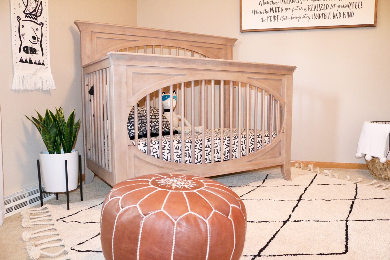 Modern Neutral Nursery Reveal - Milk Street Cameo Crib in Toast