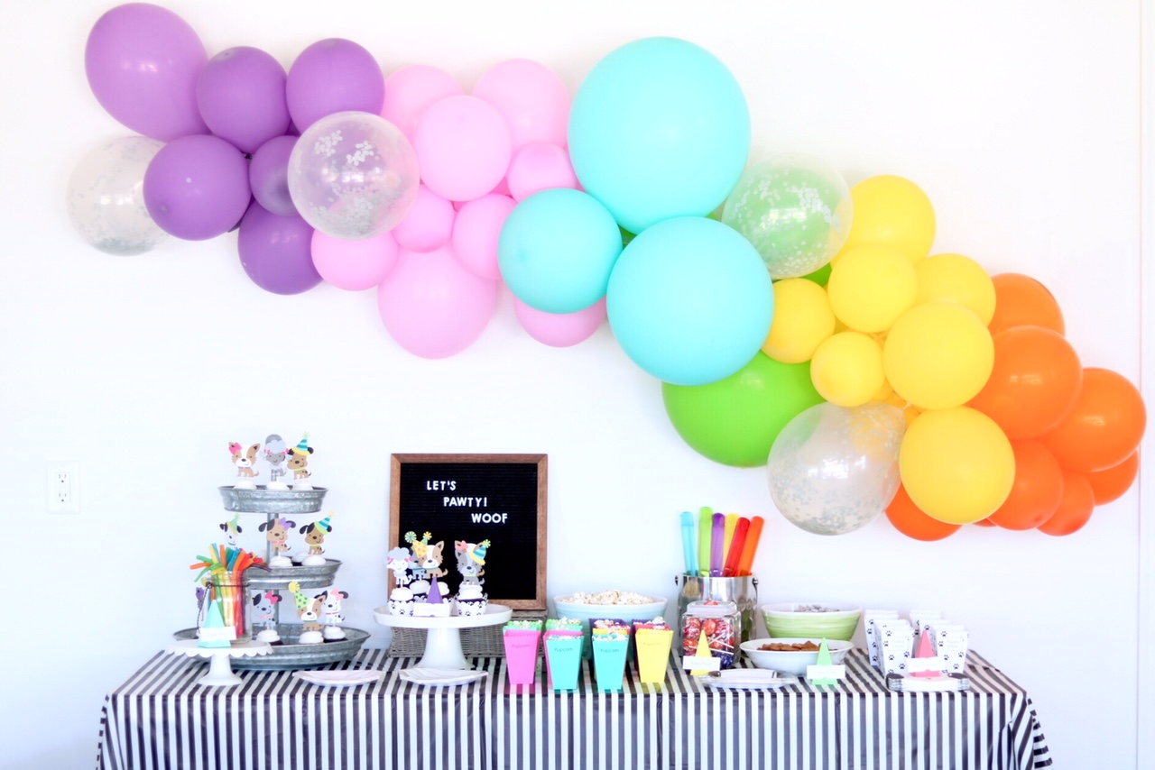 Puppy Themed Birthday Party, Let's Paw-ty!- Rainbow Neon Balloon Garland - Puppy Pawty Table Idea - Pupcakes - Dog Birthday Party - First Birthday Party - Girl birthday theme - Boy birthday theme - Dog party ideas - Rainbow Birthday Party #birthdayparty #birthdaytheme #firstbirthday #partysupplies #partytheme #partydecor #puppy #dog #rainbow #partyplanner #party #desserttable #cupcakes