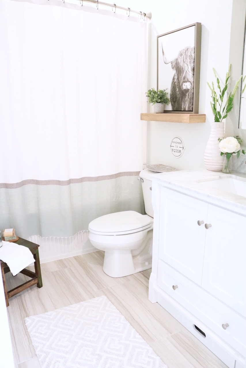 Modern Farmhouse Bathroom How To Style Small For Kids And Guests Shetland Cattle