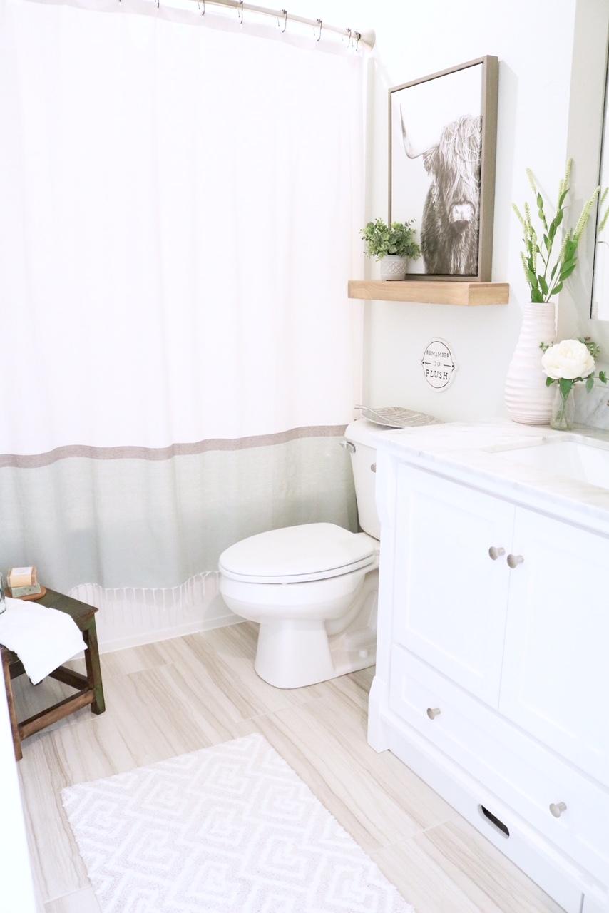 Modern Farmhouse Small Bathroom Reveal - SUGAR MAPLE notes on Modern Farmhouse Bathroom  id=83123