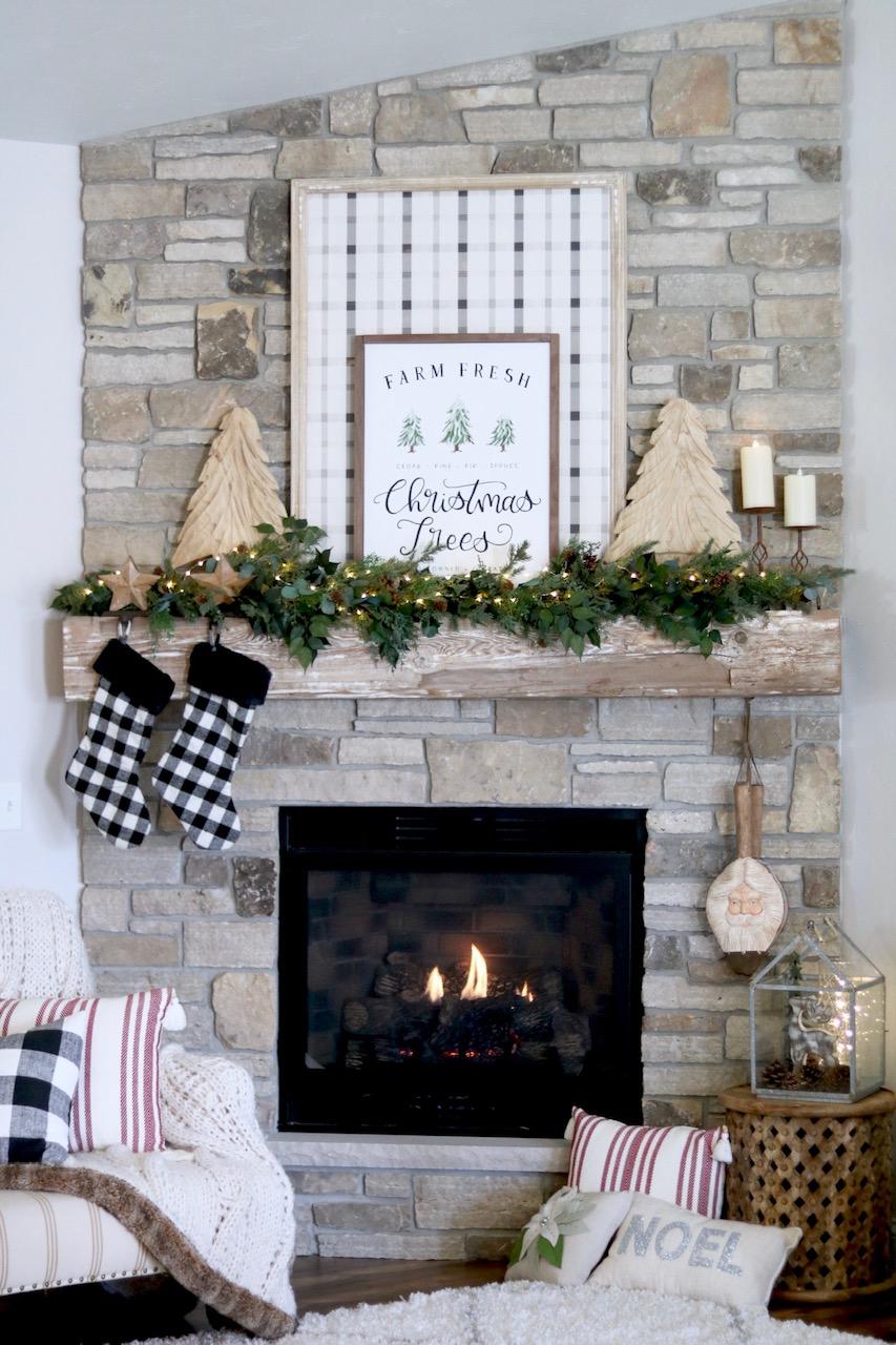 Farmhouse Christmas Decor Ideas For Fireplace Mantel Sugar Maple Notes